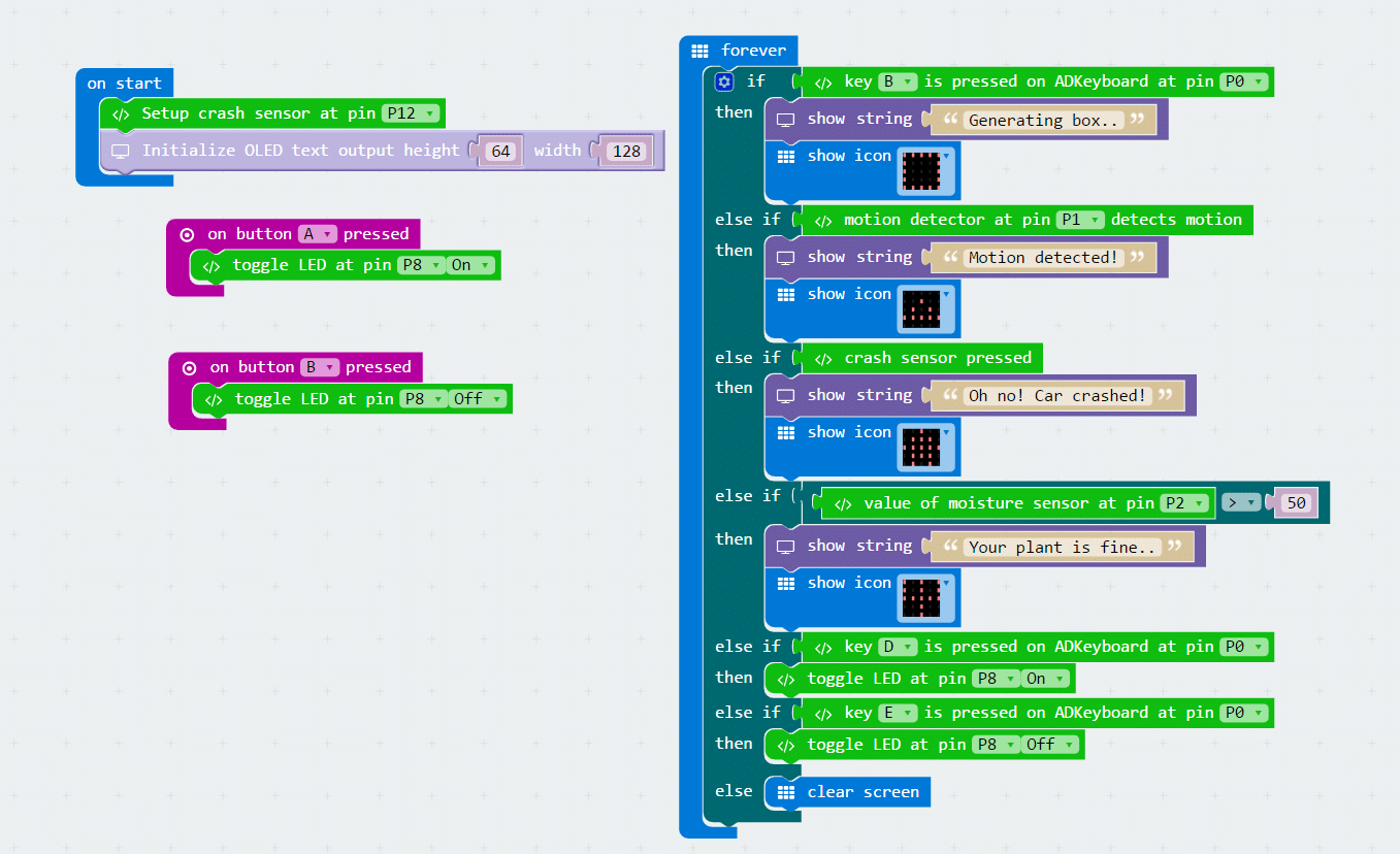 Introducing The Microbit Breakout Board Tinkercademy Bbc Model B Circuit Diagram Pictured Close Up Of Oled Top Led Bottom Left And Motion Pir Sensor Right Also Code That Powers Demo Click To Zoom